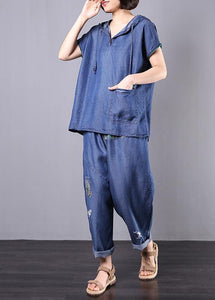 summer cotton blended blue hooded tops with elastic waist pants two pieces