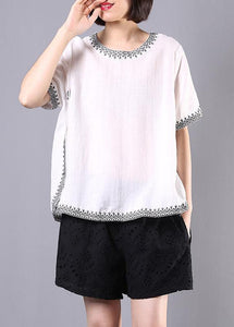 summer cotton linen white embroidery o neck tops and hollow out shorts