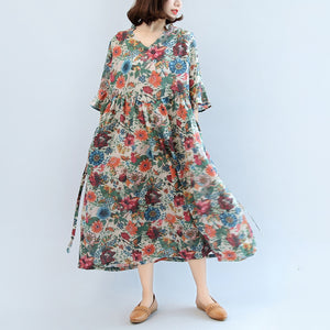 summer floral casual linen sundress oversize bracelet sleeved maxi dress
