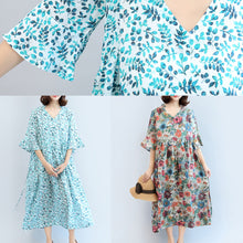 Load image into Gallery viewer, summer floral casual linen sundress oversize bracelet sleeved maxi dress