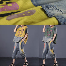Load image into Gallery viewer, summer green cotton women clothing plus size patchwork alphabet two pieces