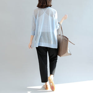 summer light blue stylish  loose casual  t shirt long sleeve blouse