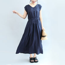 Load image into Gallery viewer, summer navy casual linen sundress plus size women v neck maxi dress