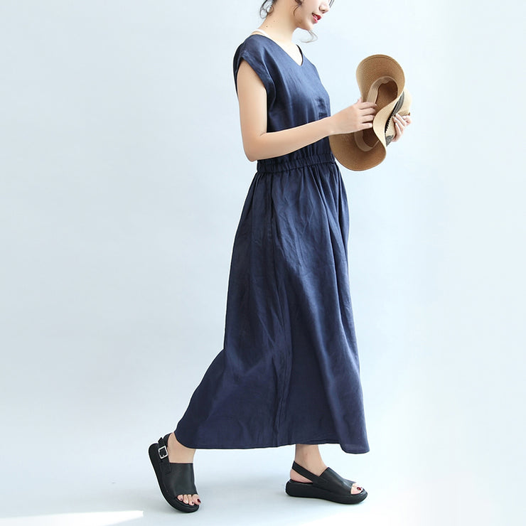 summer navy casual linen sundress plus size women v neck maxi dress