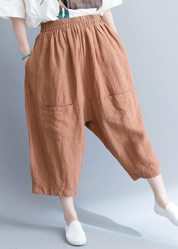 summer new khaki cotton linen pants plus size elastic waist crop pants