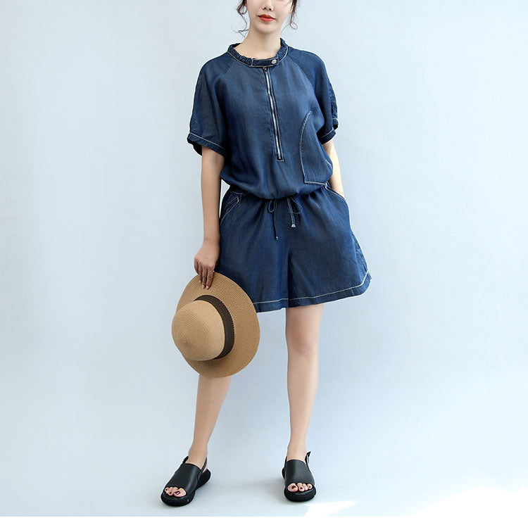 8e9e7781cde summer new navy stylish cotton short sleeve tops and casual jumpsuit shorts  ...