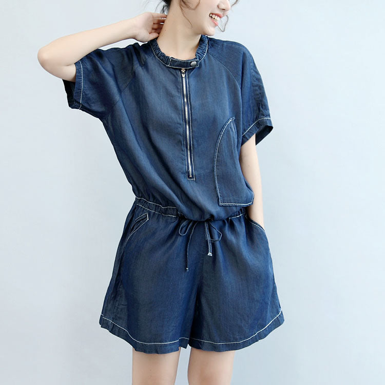 c60e4f91202 ... summer new navy stylish cotton short sleeve tops and casual jumpsuit  shorts ...
