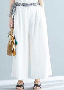 summer white casual cotton trousers loose women tie waist wide leg pants