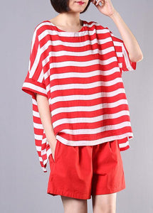 summer women two pieces red striped o neck tops and casual shorts