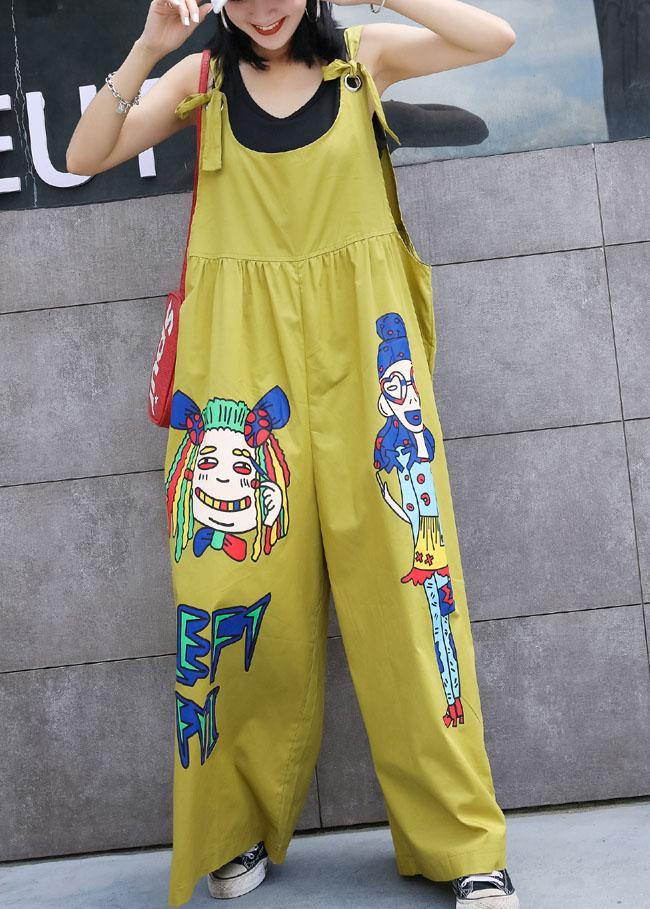 summer yellow cotton cartoon prints jumpsuit pants plus size casual jumpsuit pants