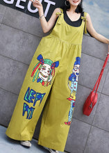 Load image into Gallery viewer, summer yellow cotton cartoon prints jumpsuit pants plus size casual jumpsuit pants