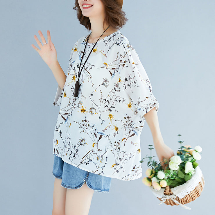Summer White Print Silk Tops Plus Size Tie Bust Short Sleeve T Shirt