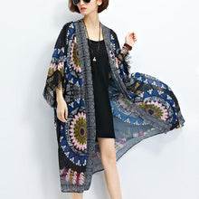 Load image into Gallery viewer, sundress new black prints chiffon cardigans plus size tassel half sleeve summer outwear