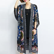sundress new black prints chiffon cardigans plus size tassel half sleeve summer outwear