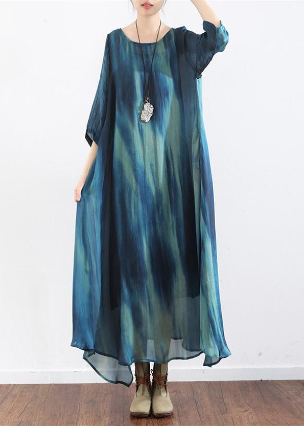 the sea blue print silk dresses plus size causal long silk caftans oversize gowns bracelet sleeves