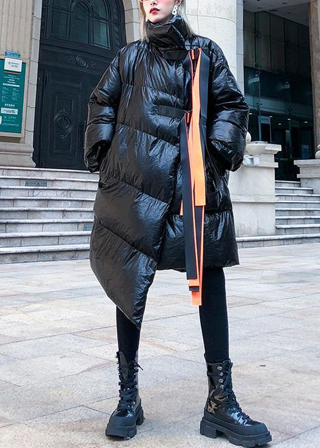 thick black Parkas for women plus size clothing stand collar patchwork winter coats