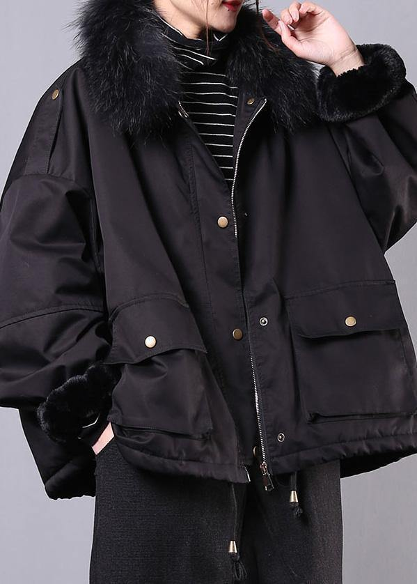thick black casual outfit oversize Jackets & Coats pockets faux fur collar overcoat