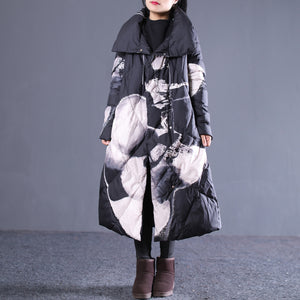 thick black print down jacket plus size stand collar down overcoat pockets zippered long down coats