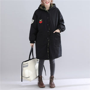 thick black winter parkas plus size hooded snow jackets Fine pockets winter coats