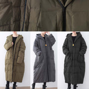 thick blackish green down overcoat plus size clothing down coat Casual hooded overcoat warm thick