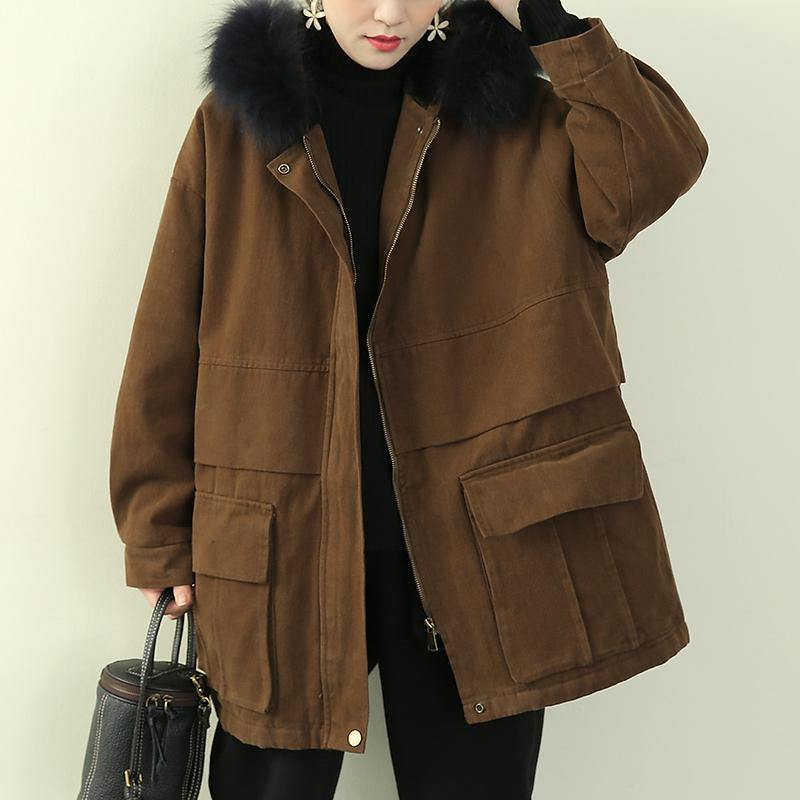 thick brown winter parkas casual snow jackets winter faux fur collar overcoat