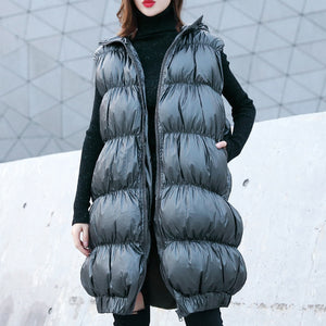 thick gray down jacket casual hooded zippered Parka top quality Sleeveless tunic coat
