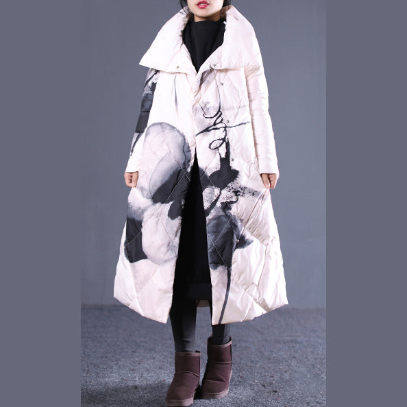 thick light nude print quilted coat stand collar down overcoat Elegant pockets zippered down overcoat