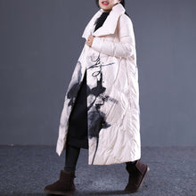 Load image into Gallery viewer, thick light nude print quilted coat stand collar down overcoat Elegant pockets zippered down overcoat