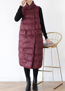 thick plus size warm winter coat stand collar winter coats burgundy sleeveless Parkas for women