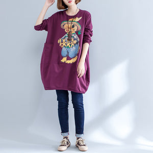 thick warm burgundy print cotton maternity dress oversize o neck women casual dress