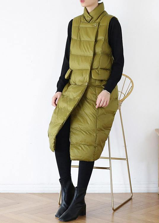 thick yellow green casual outfit casual down jacket stand collar sleeveless winter outwear
