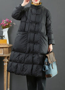 fine  Loose fitting long coat winter jacket black stand collar Chinese Button woolen outwear
