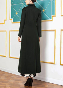 top quality Loose fitting long coat slim coat aymy green wild Woolen Coats