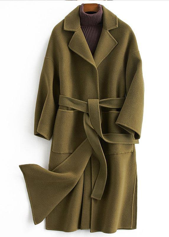top quality Loose fitting long coat tie waist green Notched woolen outwear
