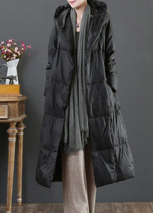 fine Loose fitting snow jackets winter outwear black hooded pockets goose Down coat
