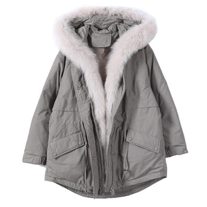 top quality Loose fitting warm winter coat hooded drawstring parkas