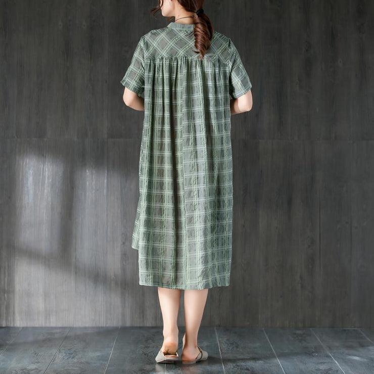 fine Midi-length cotton dress plus size clothing Lattice Summer Green Women Dress with Button
