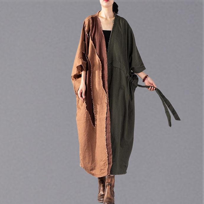 top quality army green Coat oversize patchwork trench coat Fashion drawstring jackets