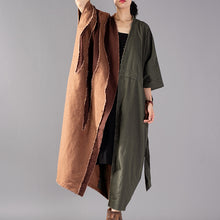 Load image into Gallery viewer, top quality army green Coat oversize patchwork trench coat Fashion drawstring jackets