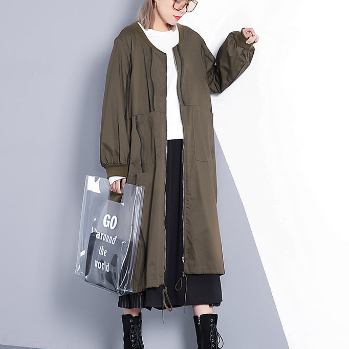 top quality army green coat plus size stand collar long coat New wrinkled baggy trench coat