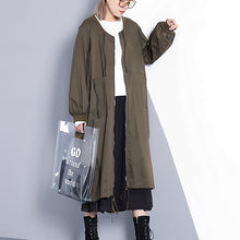 Load image into Gallery viewer, top quality army green coat plus size stand collar long coat New wrinkled baggy trench coat