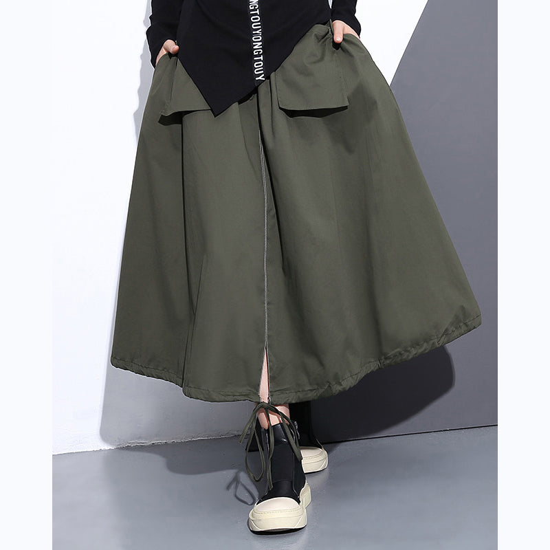 top quality army green natural cotton skirt oversize A line skirts traveling boutique pockets drawstring cotton skirt