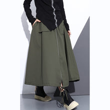 Load image into Gallery viewer, top quality army green natural cotton skirt oversize A line skirts traveling boutique pockets drawstring cotton skirt