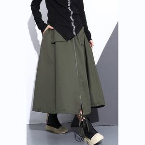 fine army green natural cotton skirt oversize A line skirts traveling boutique pockets drawstring cotton skirt