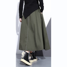 Load image into Gallery viewer, fine army green natural cotton skirt oversize A line skirts traveling boutique pockets drawstring cotton skirt