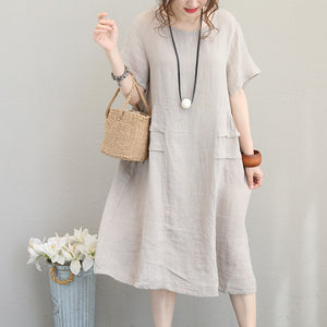 top quality beige linen dress casual linen clothing dresses women o neck patchwork cotton dress