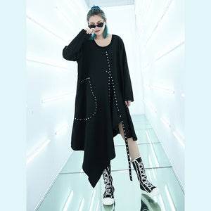 top quality black Midi-length dress oversized traveling asymmetrical design boutique O neck autumn dress