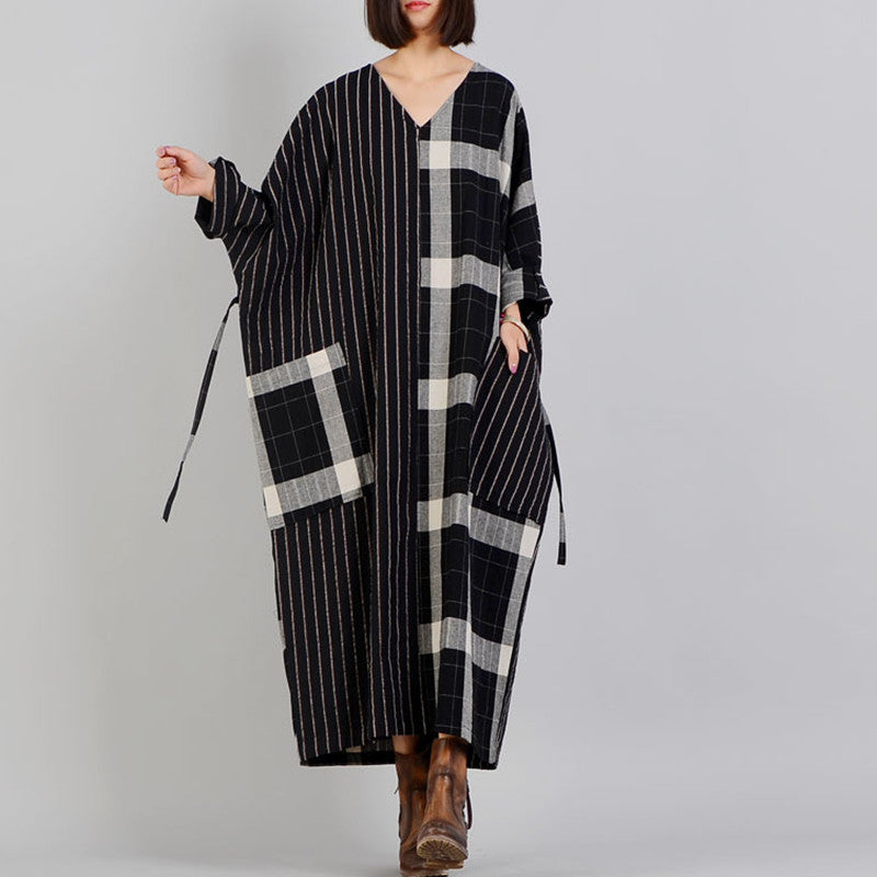 top quality black Plaid casual v neck patchwork gown top quality pockets Batwing Sleeve long dresses