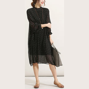 top quality black chiffon sundress Stand long sleeve prom dress wrinkled tulle dress