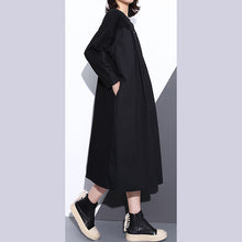 Load image into Gallery viewer, top quality black coats plus size stand collar pockets patchwork baggy Coat